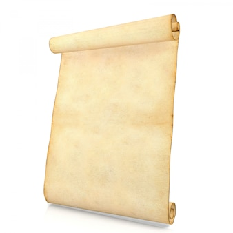 Papel de pergaminho antigo em branco velho isolado no fundo branco, renderização em 3d