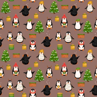 Papel digital bonito dos pinguins, padrão dos pinguins do natal.