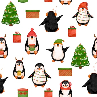 Papel digital north penguins, padrão christmas penguins.