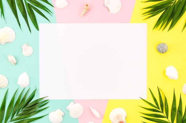 Papel em branco com folhas de palmeira e conchas