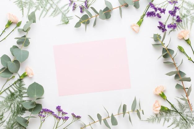 Papel em branco, flores de cravo, galhos de eucalipto em fundo pastel