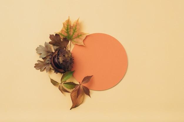 Papel em branco laranja. saudação de feriado. a queda deixa o fundo decorativo.