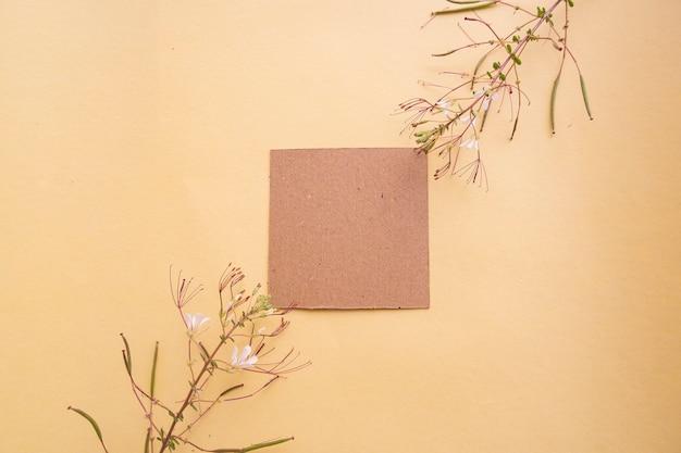 Papel marrom no fundo amarelo pastel com decoração floral. cartão de visitas. cartão de visita, livro branco. modelos de papel. fundo de cor pastel