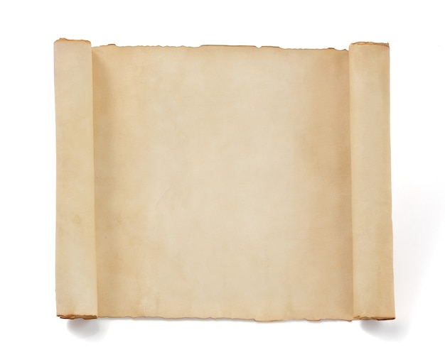 Papel pergaminho isolado branco