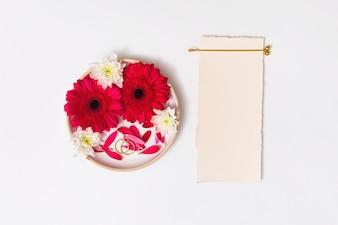 Papel perto de anéis e conjunto de flores frescas em volta