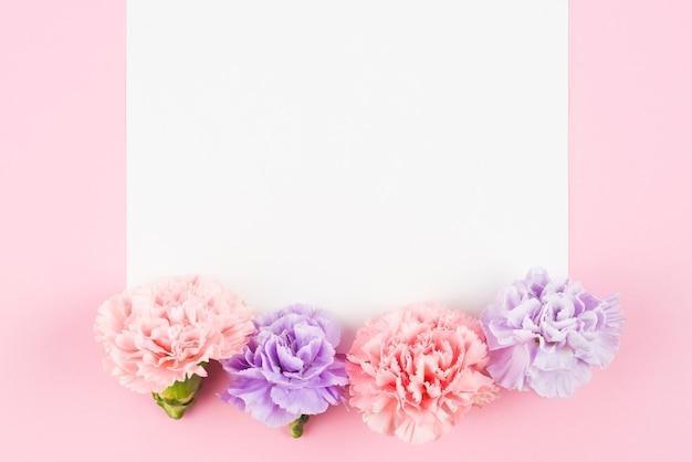 Papel vazio com flores fofos no final