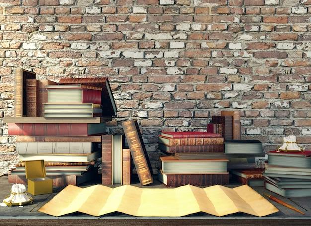Papel velho e livros antigos na mesa de estudo na cena medieval, renderização em 3d