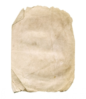 Papel velho isolado no branco