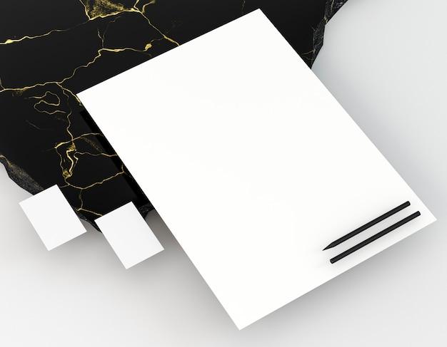 Papelaria corporativa em branco em alta visualização
