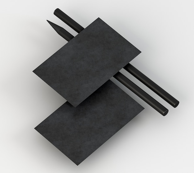 Papelaria corporativa em branco, lápis preto e cartão de visita