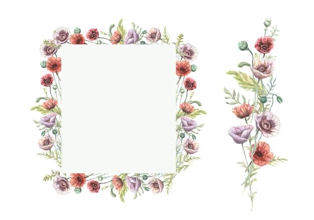 Papoulas flores flores silvestres roxas vermelhas mão ilustrações desenhadas em aquarela. esboço de impressão têxtil fundo patern sem costura conjunto borda de quadro. decoração de folhas de plantas naturais