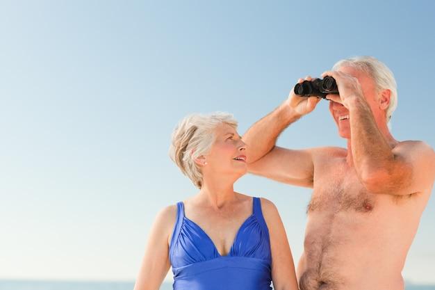 Par ancião, pássaro, observar praia