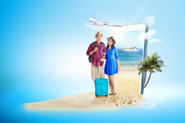 Par asiático, com, bolsa mala, e, mochila, levantando praia