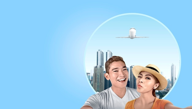 Par asiático, com, chapéu, levando, um, selfie, com, arranha-céus, fundo