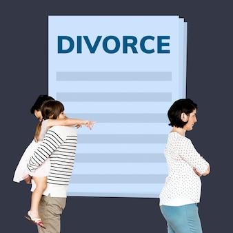 Par casado, com, um, filha, obtendo, um, divórcio
