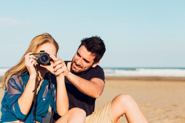 Par, com, câmera, ligado, praia