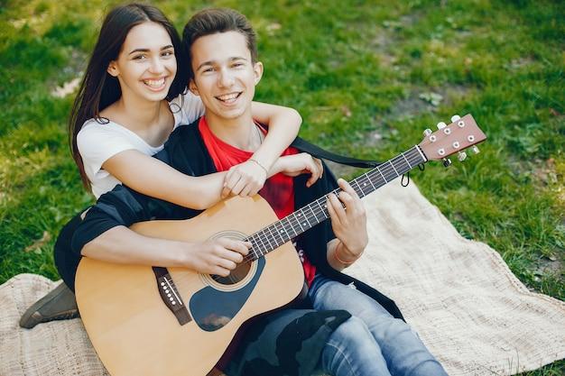 Par, com, um, guitarra