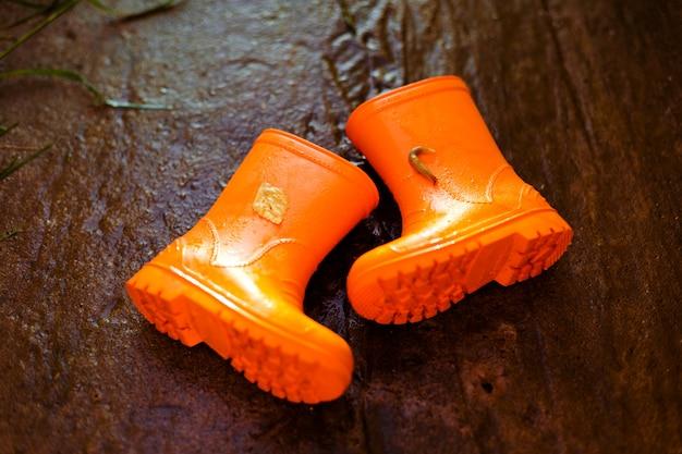 Par de botas de borracha, deitado no chão de pedra molhada com lesma