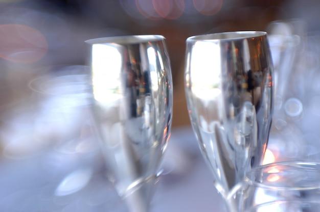 Par, de, champanhe flautas, close-up