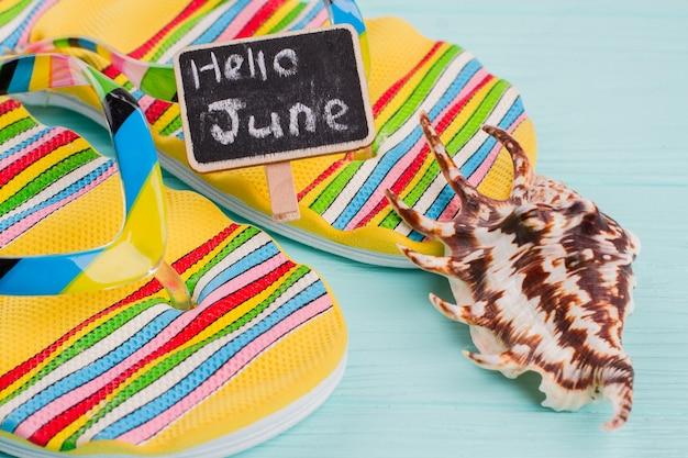 Par de chinelos de praia brilhantes e concha do mar sobre o fundo azul. olá, junho na placa de identificação.