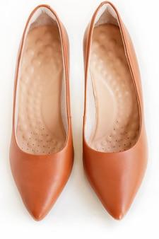 Par de salto de couro marrom de mulheres clássicas. calçado de moda. isolado