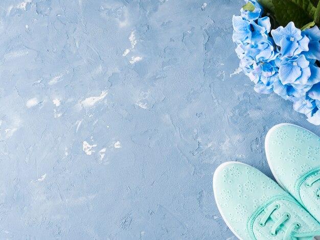 Par de tênis de lona mulher verde em azul