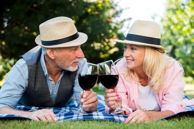 Par, deitando, ligado, um, cobertor, com, vinho, e, chapéus