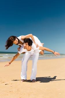 Par, desfrutando, liberdade, praia