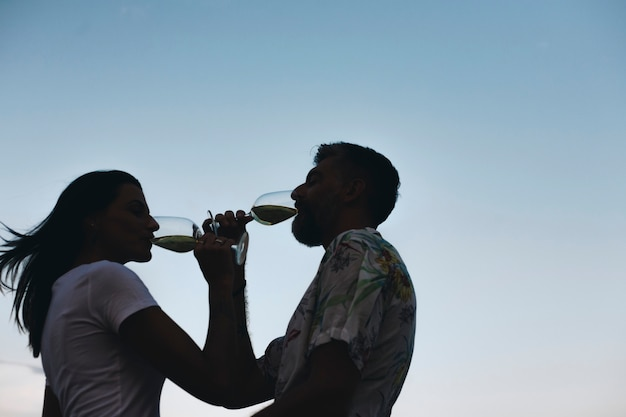 Par, desfrutando, um, vidro vinho, por, praia