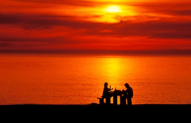 Par, desfrutando, vinho, e, ocaso oceano, ecola, parque estado, oregon