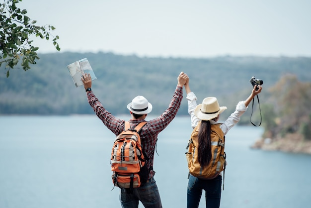 Par, família, viajando, junto