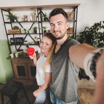 Par, ficar, em, cozinha, levando, selfie