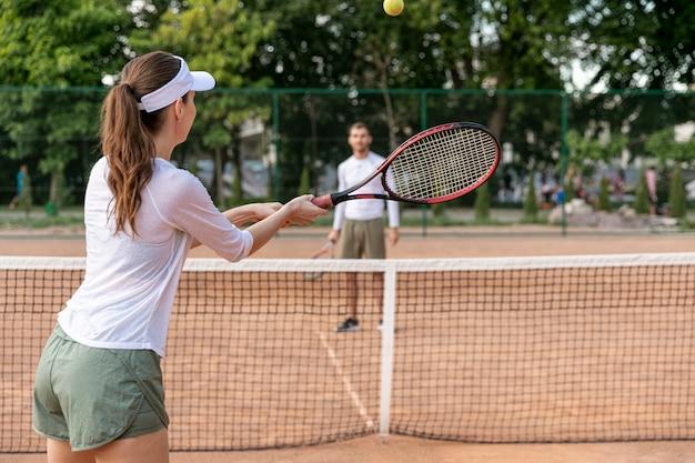 Par, jogando tênis, ligado, corte