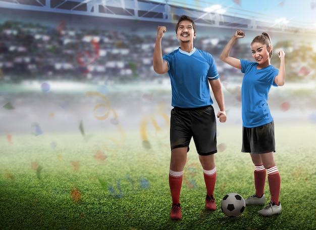Par jovem, desgastar, futebol, jersey