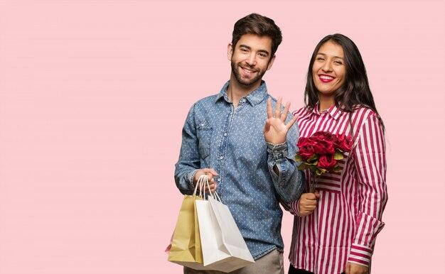 Par jovem, em, dia dia dos namorados, mostrando, numere quatro