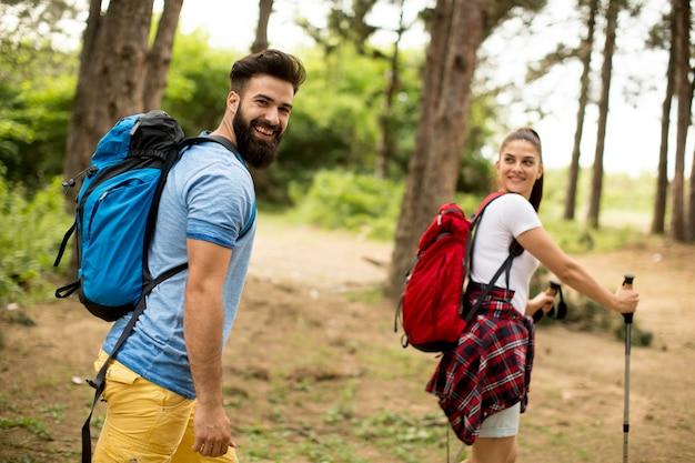 Par jovem, hiking, em, montanha