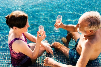 Par maduro, em, um, piscina