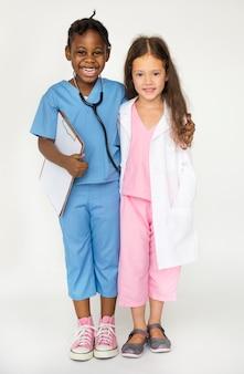 Par, meninas, vestido, como, pessoal médico