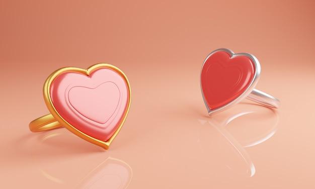Par mínimo de anéis de coração com fundo rosa suave. ilustração 3d