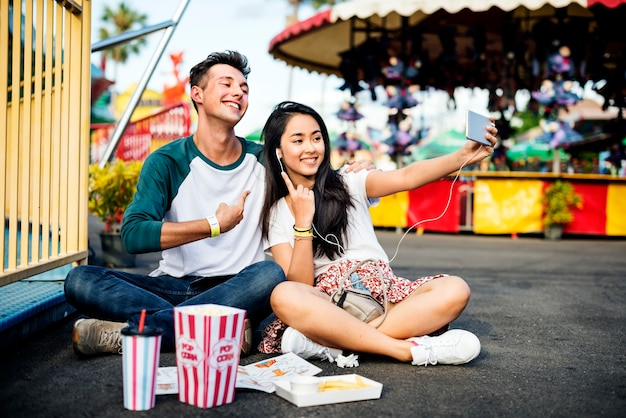 Par, namorando, relaxamento, amor, tema, parque, conceito