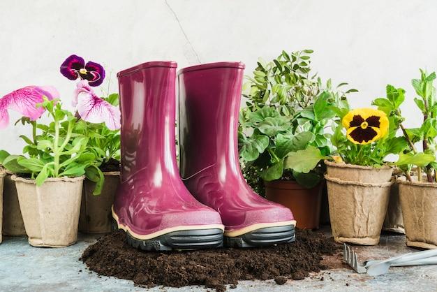 Par roxo de bota de borracha no solo com plantas em vasos de turfa