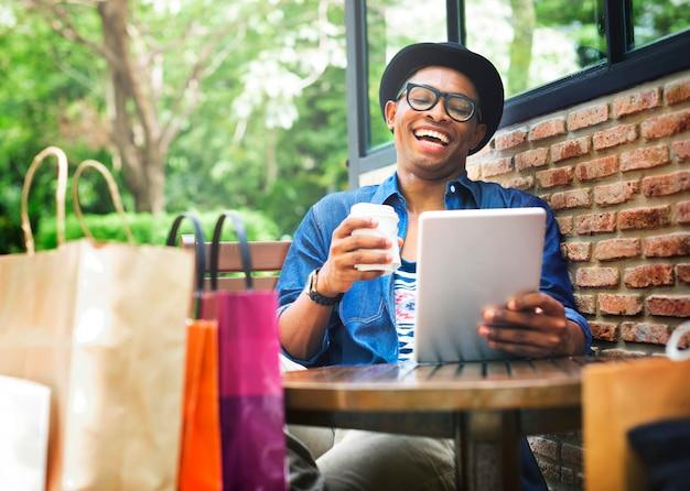 Par, shopping, namorando, desfrute, consumidor, conceito