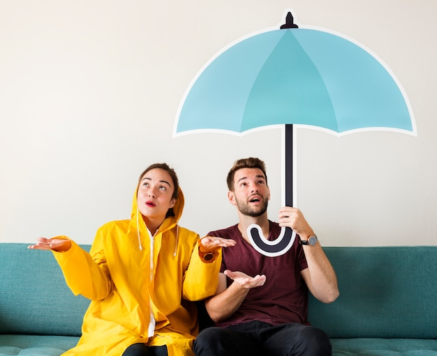 Par, sob, guarda-chuva, ícone