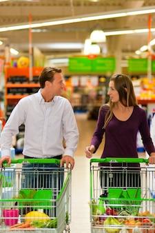 Par, supermercado, shopping, carreta