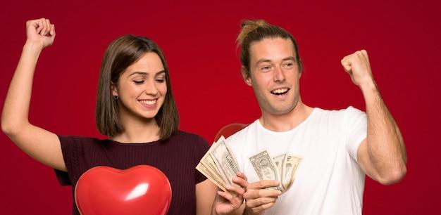 Par, valentine, levando, muito, dinheiro