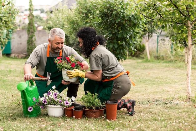Par velho, importar-se, a, flores