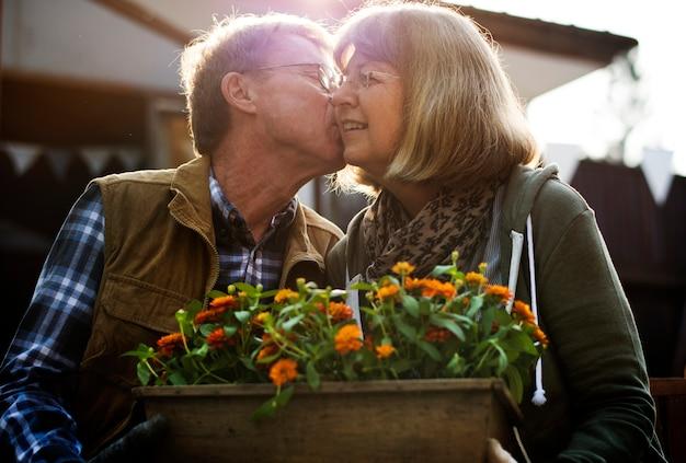 Par velho, plantando, legumes, em, jardim, quintal