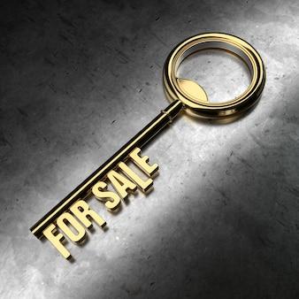 Para venda - chave dourada sobre fundo preto metálico. renderização 3d