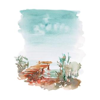 Paraíso tranquilo para relaxar e pescar em aquarela