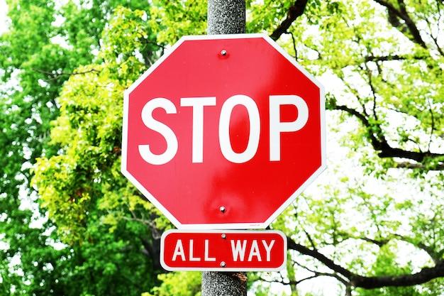 Parar, sinal, poste